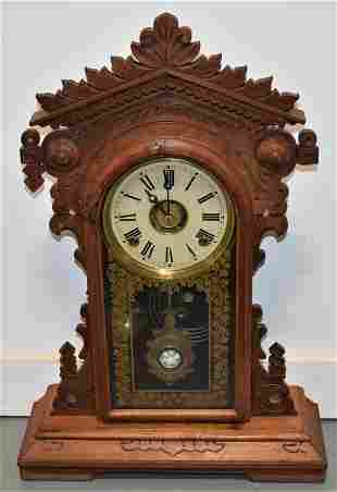 Victorian Oak Gingerbread Clock
