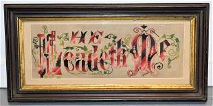 Victorian Crossed Stitched Motto