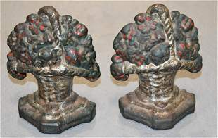 Pair of Painted Cast Iron Bookends