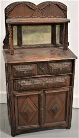 Exceptional Childs Tramp Art Step Back Cupboard