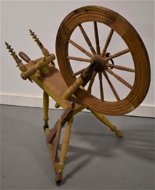 19th Century Painted Flax Wheel
