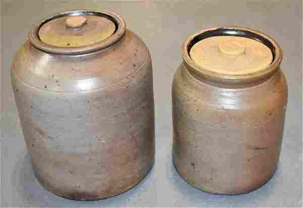 (2) 19th Century Grey Stoneware Storage Jars