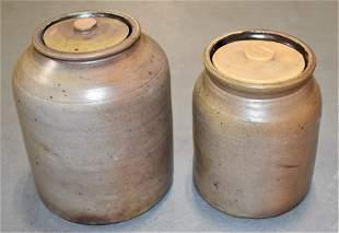 2 19th Century Grey Stoneware Storage Jars