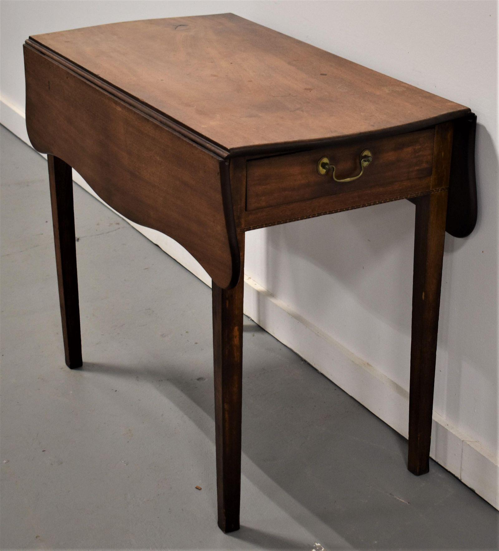 N.E. Cherry Inlaid Pembroke Table