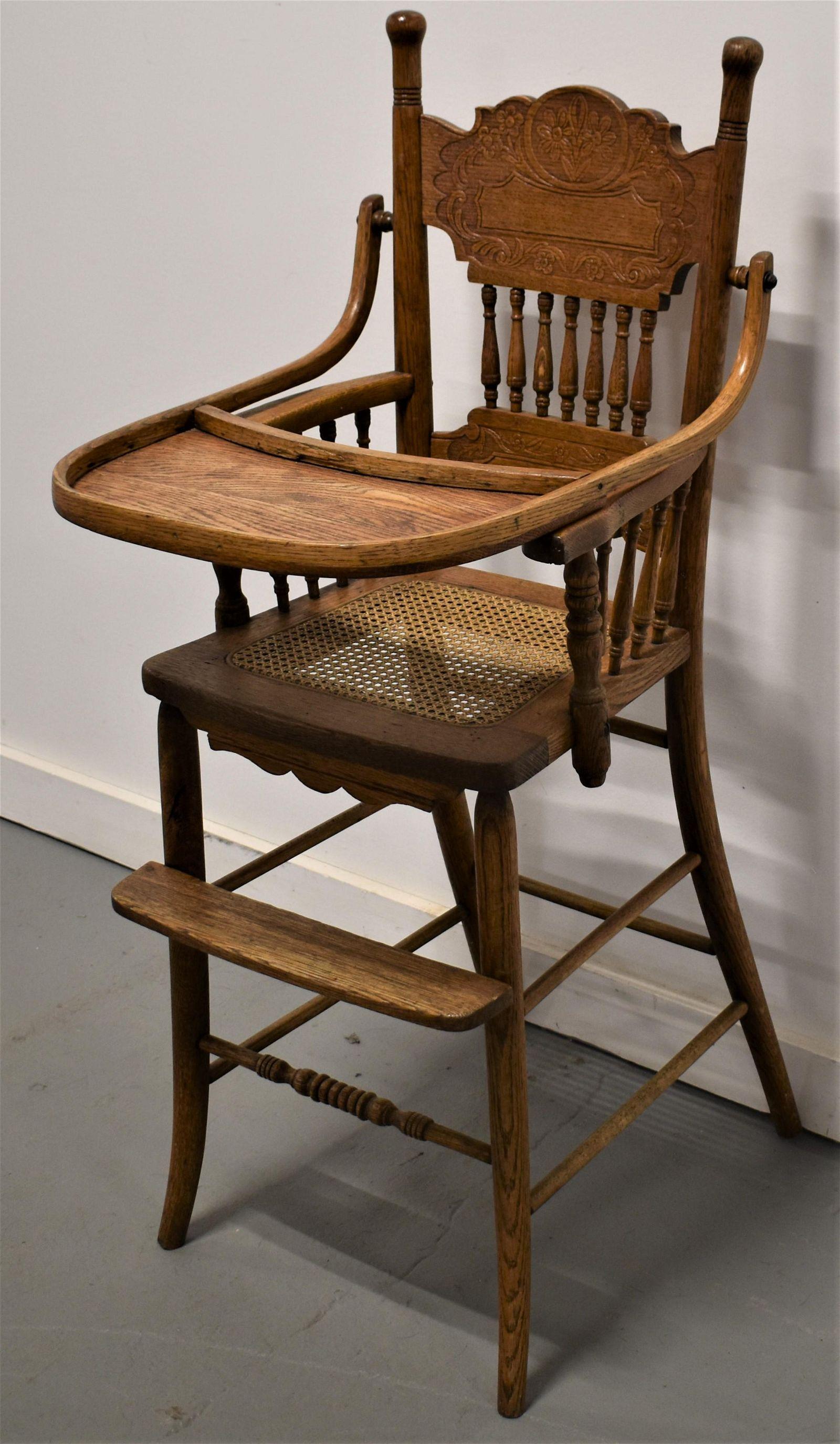 Victorian Oak Pressed Back Highchair