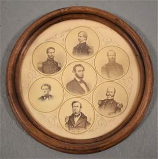 19th Century Framed Photos of Lincoln and Generals