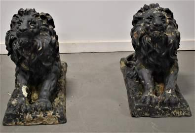 Pair Painted Cast Iron Lion Statues