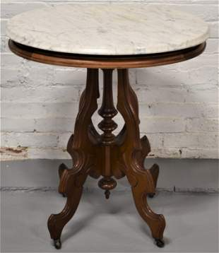 Victorian Oval Marble Top Parlor Table