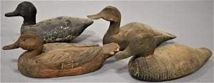 Lot (4) Vintage Carved and Painted Duck Decoys