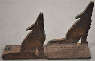 Pair Figural Wolf Cast Iron Bookends