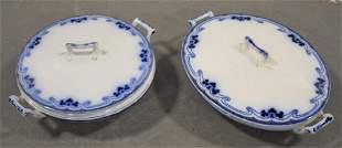(2) Idris Pattern Flow Blue Vegetables