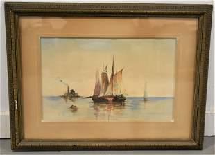 19th Century Watercolor Landscape Painting