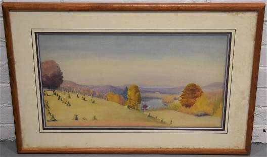 20th Century Autumn Landscape Watercolor Painting