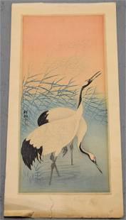 Japanese Woodblock Print of Cranes in Marsh