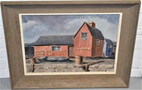 Earl Nutting Harbor Scene Oil Painting