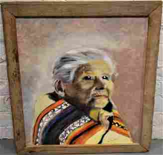 H.F. Goodwin Indian Squaw Oil Painting