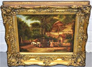 English Rural Oil Painting on Board