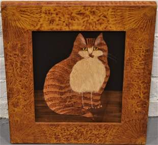 Folky Cat Oil Painting