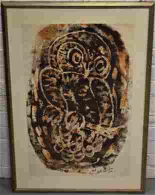 Hester Cunningham Owl Woodblock Print