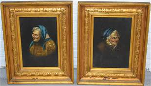 Pair of 19th Century Portraits Oil Paintings