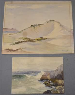 Lot (4) Watercolor Seascapes
