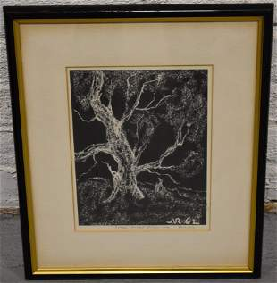 Woodcut of Ancient Oil Tree