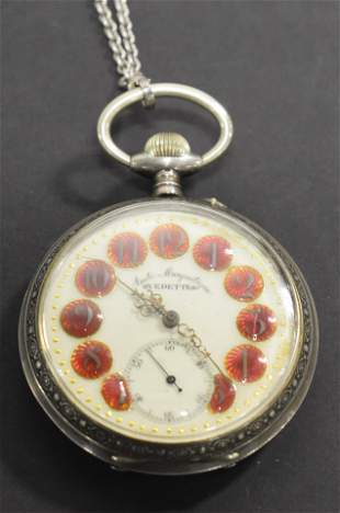 French Silver Pocket Watch with Engraved Case