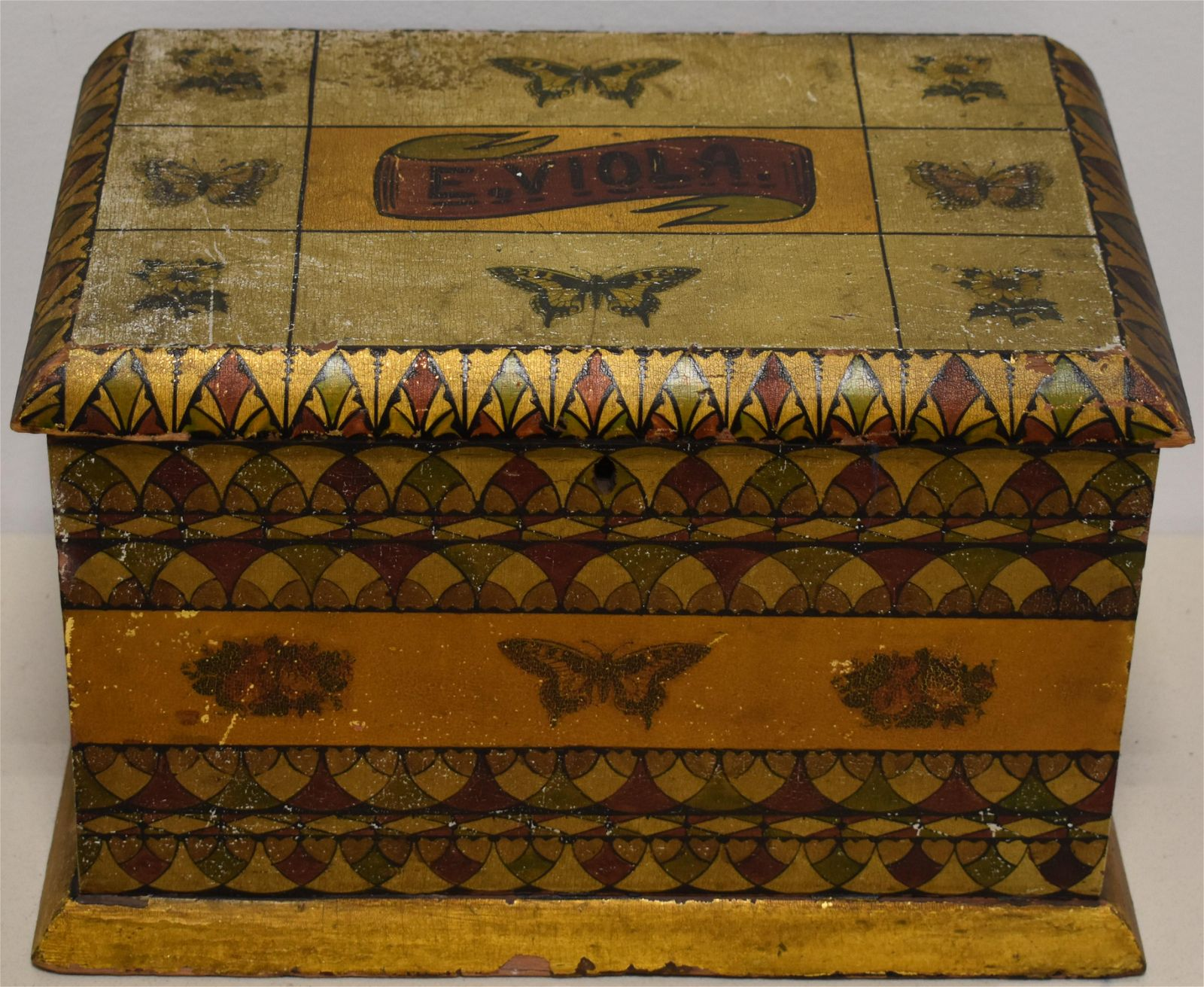 19th Century Paint Decorated Document Box