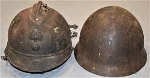 (2) WW1 French Military Helmets