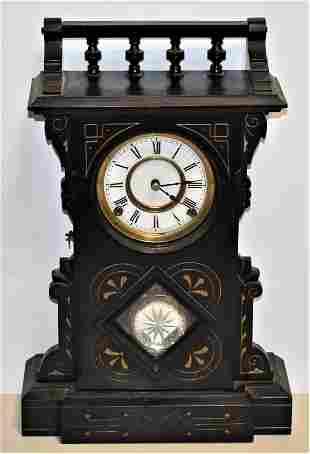 F. Kroeber Ebony Portsmouth Shelf Clock
