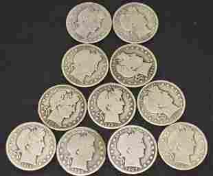 11 Silver Barber Half Dollars