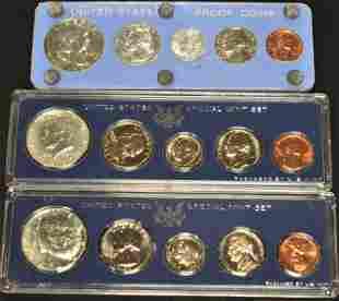 1 U.S. Proof Set, 2 U.S. Mint Sets