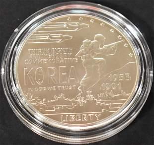 1991 Silver UNC Korean War Mem. Dollar