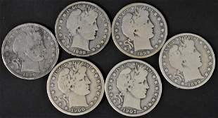 6 Silver Barber Half Dollars