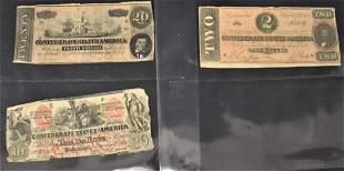 3 Confederate Notes