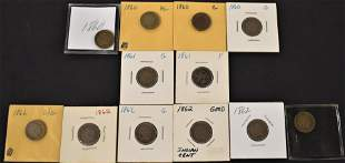 12 Copper-Nickel Indian Head Cents
