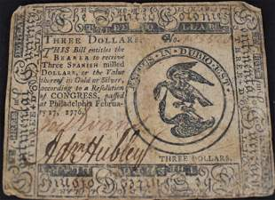 3 Dollar Continental Currency 1776