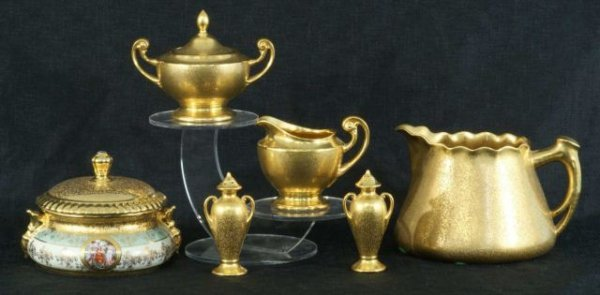 3: MIXED LOT OF SIX GOLD LIMOGES PIECES