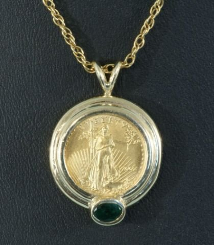 9A: LADIES 18KT GOLD COIN AND SAPPHIRE PENDANT