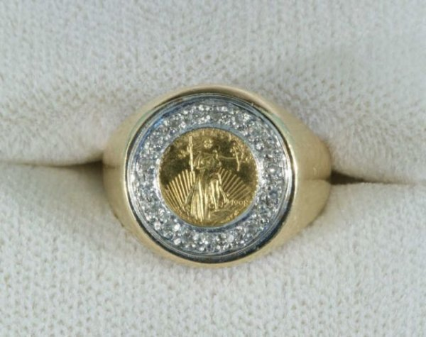 9B: 6.5 GRAMS GOLD COIN RING WITH DIAMONDS