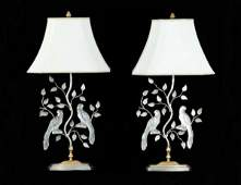 28: PAIR OF BAGUESS STYLE GLASS BIRD FIGURINE LAMPS