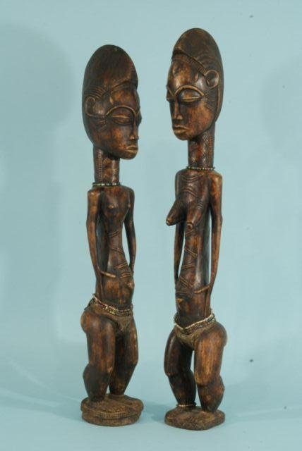 7: CARVED MALE & FEMALE BAULE IVORY COAST SCULPTURE