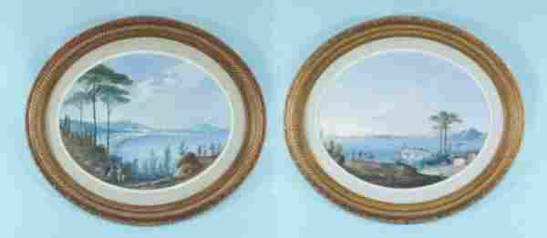 57: TWO OVAL GOUACHE OF ITALIAN SCENES, CIRCA 1880