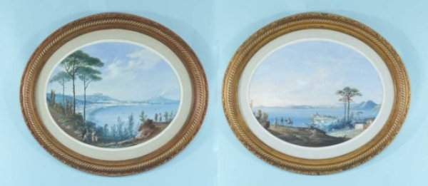 57: TWO OVAL GOUACHE OF ITALIAN SCENES, CIRCA 1880