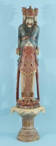 2: WOOD CARVED AND POLYCHROME ORIENTAL GUARDIAN