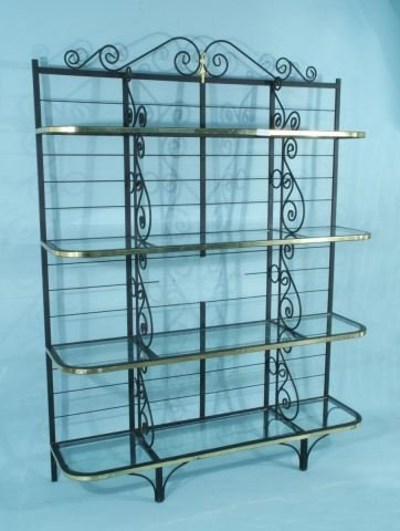 4: WROUGHT IRON BAKER'S RACK WITH BRASS ACCENTS