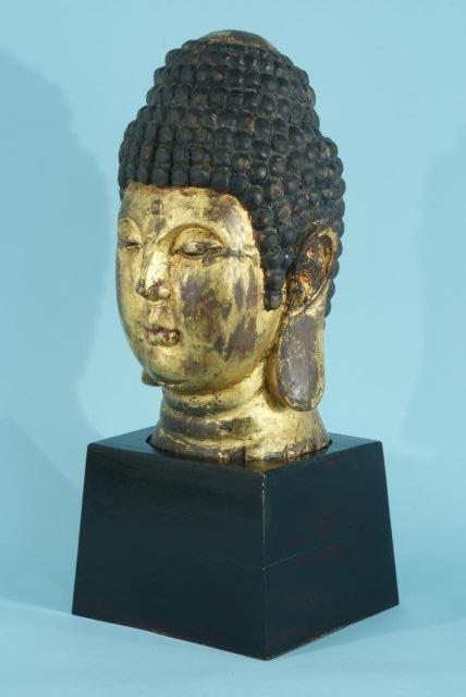 5: WOOD CARVED AND GILDED BUDDHA HEAD