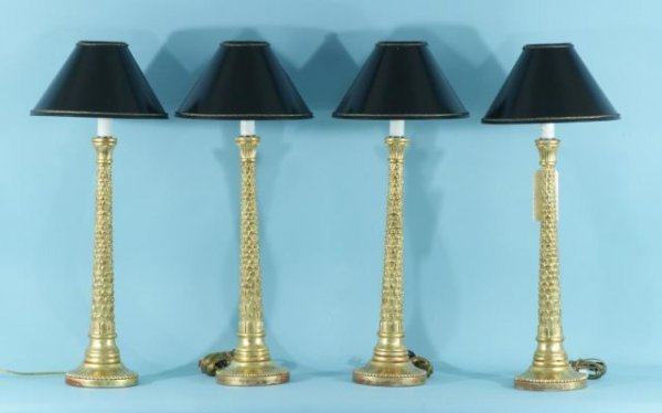 6: LOT OF FOUR CARVED AND GILDED LAMPS