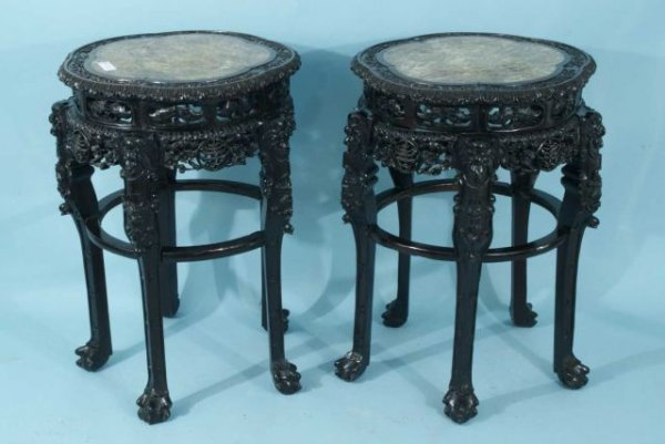 8: ORIENTAL CARVED & PIERECED LAMP TABLES, CIRCA 19th