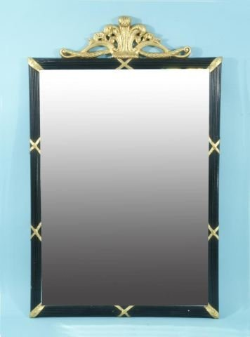 10: WOOD CARVED AND GILDED BEVELED MIRROR